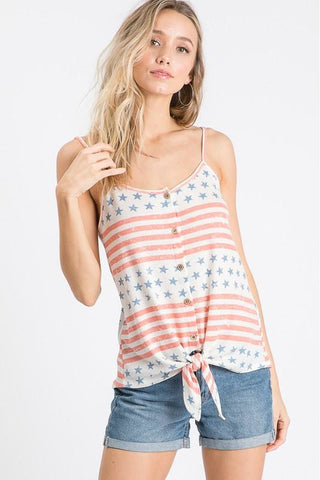 Stars & Stripes Front Tie Tank Top