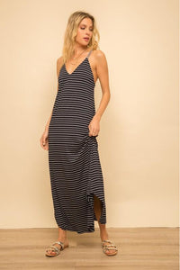 Stripe Back Detail Black Midi Dress