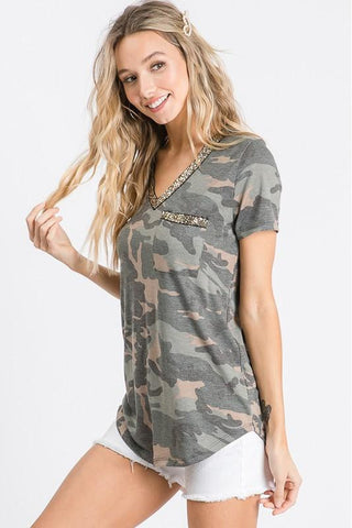 Camo Glitter Trim V Neck Top