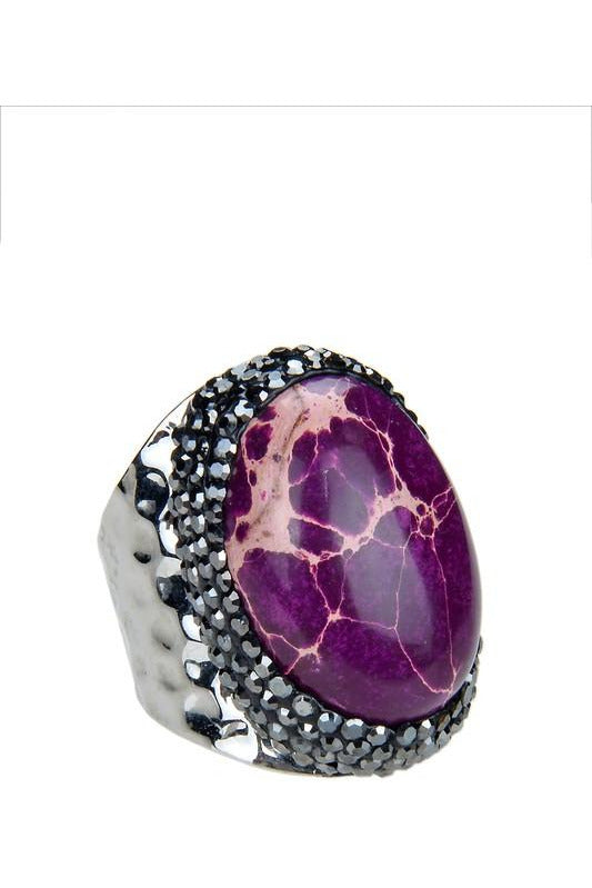 Purple Emperor Stone Metal Ring