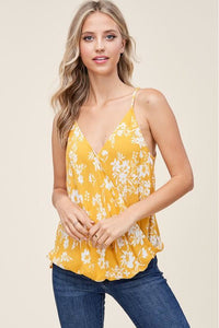 Mustard Yellow Floral Tank Top