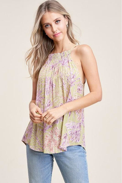 Ruffled Halter Foral Print Top
