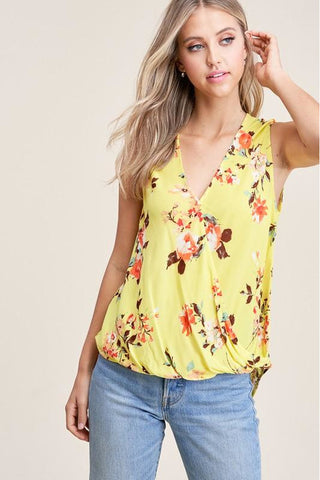 Yellow With Peach Flower Surplus Tank Top