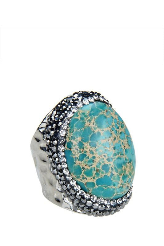 Blue Emperor Stone Metal Ring