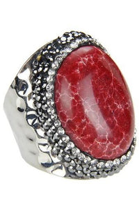 Red Emperor Stone Metal Ring