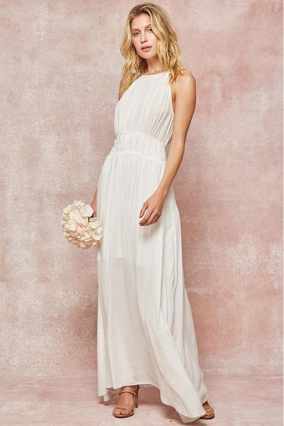 White Pleated Bodice Maxi Dress
