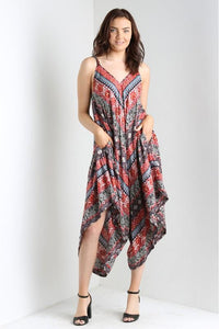 Red Print Harem Jumpsuit