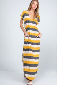 Mustard Striped Maxi Dress