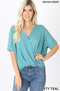 Emerald Draped Front Top