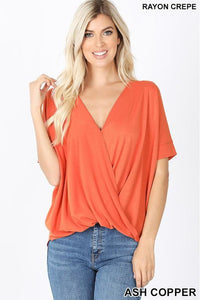 Ash Copper Draped Front Top