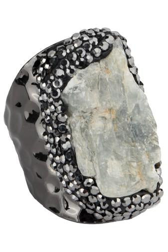 Black Kyanite Natural Stone Metal Ring