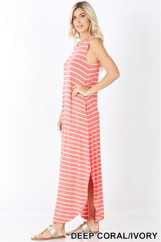 Coral & White Striped Tank Dress