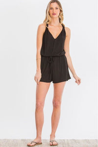 Sleeveless Black Twist Back Romper
