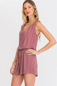 Sleeveless Mauve Twist Back Romper