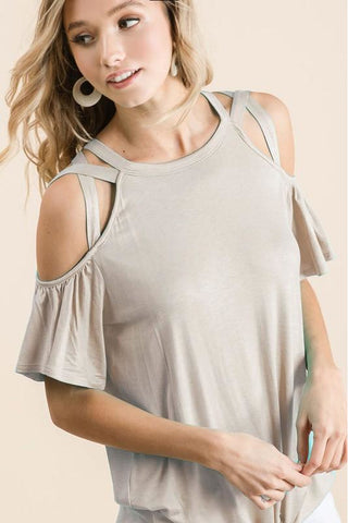 Jersey Knit Taupe Criss Cross Shoulders