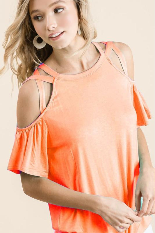 Jersey Knit Coral Criss Cross Shoulders
