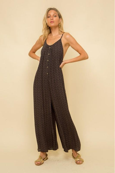 Black Print Jumpsuit