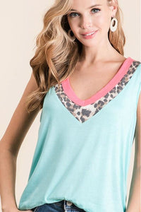 Mint Tank Top With Leopard Contrast
