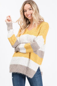 Yellow Striped Hairy Popcorn Sweater