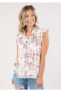 Floral Print Boho Button Up Blouse