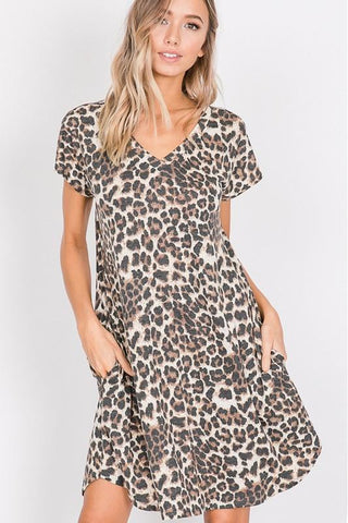 Leopard Print Dress With Pockets