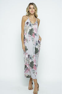 Grey & Mauve Tropical Print Maxi Dress