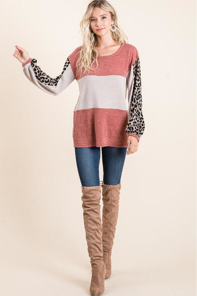 Knit Sweater Color Block Leopard Top