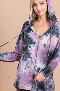 Purple Tie Dye Soft Knit Hoodie With Hoodie
