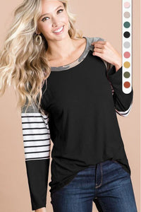 Camo Contrast Color Block Top