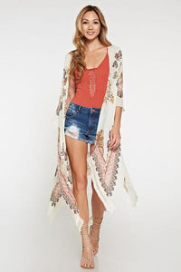 Vintage Inspired Rich Color Paisley Kimono