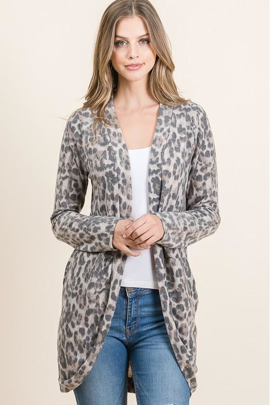 Gray Leopard Print Cardigan With Pockets