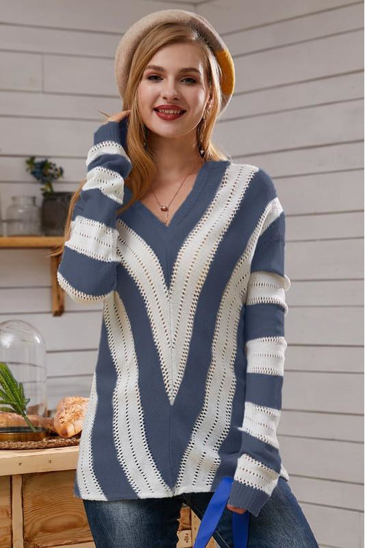 Blue Striped Detail Sweater