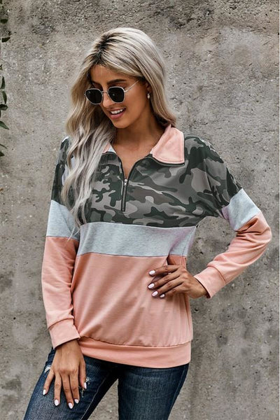 Camo Print Color Block Zip Collar Sweatshirt