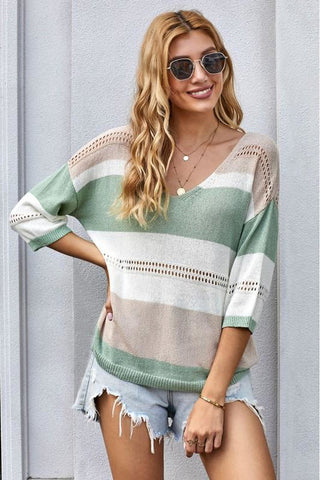 Green Striped 3/4 Sleeve Sweater Top