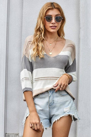 Grey Striped 3/4 Sleeve Sweater Top