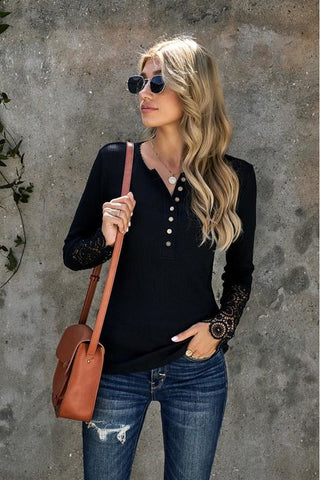 Black Crochet Lace Sleeve Button Top