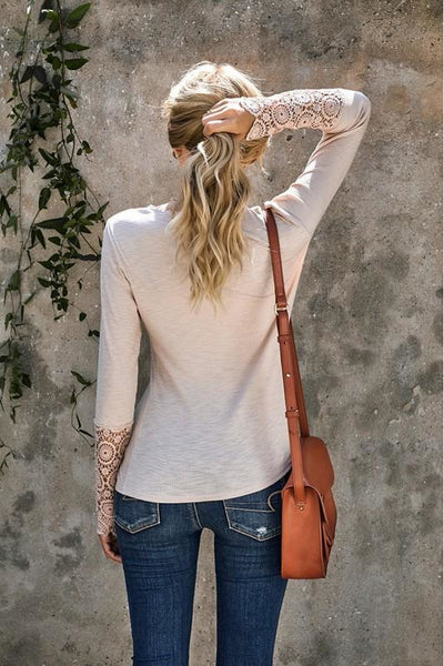 Beige Crochet Lace Sleeve Button Top