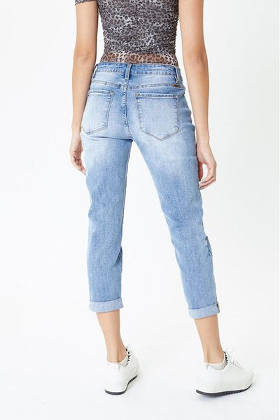 Mid Rise Button Fly Mom Kancan Jeans