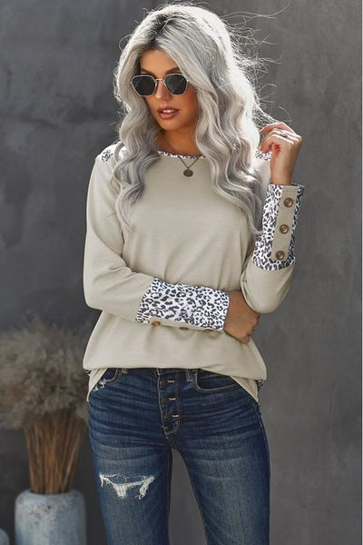 Tan Leopard Accent Long Sleeve Top