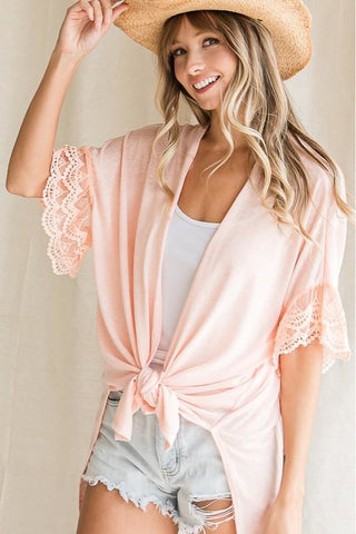 Lace Sleeve Open Front Cardigan 3 Colors