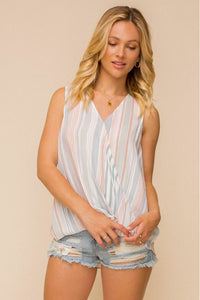 Striped Cross Front Top