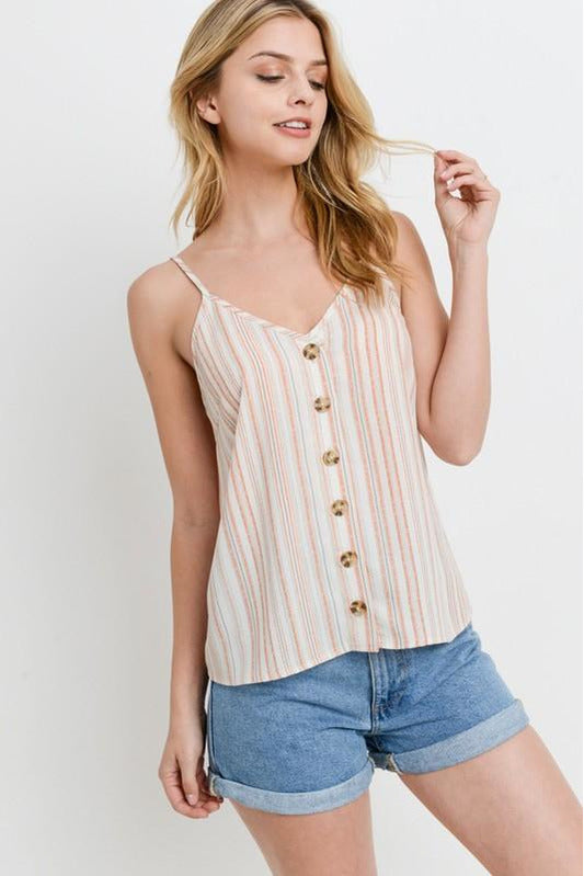 Coral Stripped Crop Tank Top