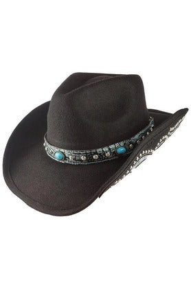 Black Turquoise Accent Cowgirl Hat