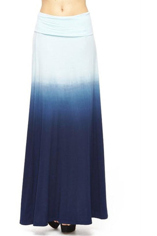 Blue Ombre Maxi Skirt