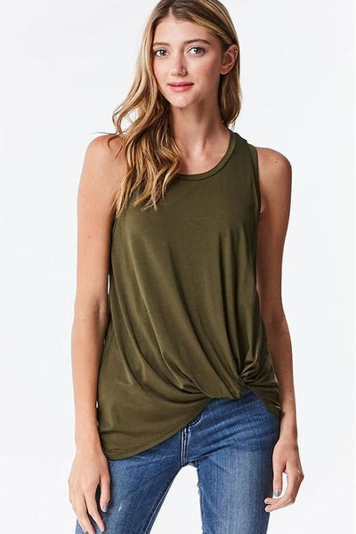 Modal Tie-Knot Front Racerback Tank Top 3 Colors