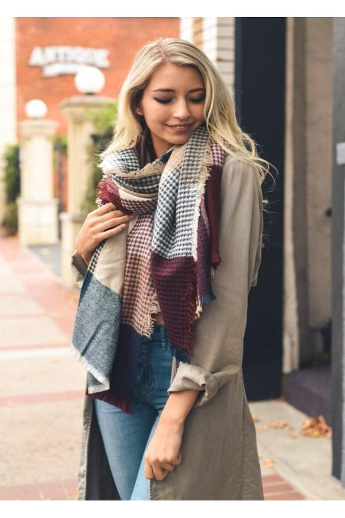 Cozy Up By The Fire Burgundy Plaid Blanket Scarf - Classic Trendz Boutique