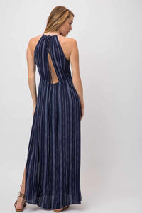Blue & White Print Maxi Dress