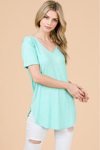 Mint Modal Cap Sleeve V-Neck Top