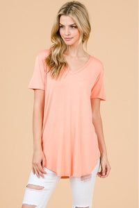 Peach Modal Cap Sleeve V-Neck Top