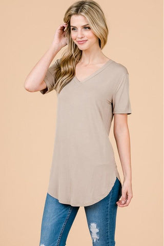 Taupe Modal Cap Sleeve V-Neck Top